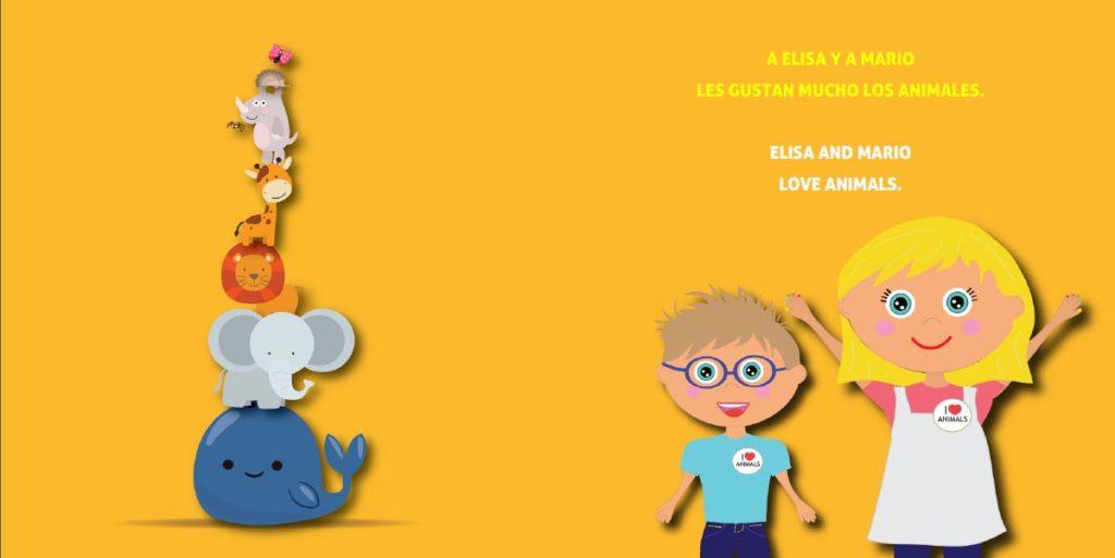Libros personalizados didácticos - Los animales - Un cuento sobre contrastes y bilingüe